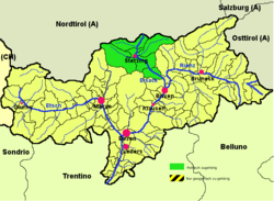 Wipptal district (highlighted in green) within South Tyrol
