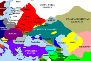 Georgius Tzul - The Pontic steppes, c.1015. The areas in blue are those possibly still under Khazar control.