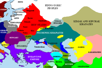 The Pontic steppes, c.1015. The areas in blue are those possibly still under Khazar control.