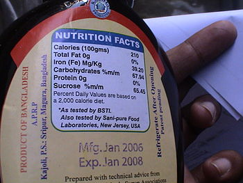 nutrition facts food packaging label