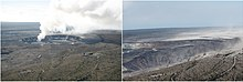 Two views of Halemaʻumaʻu from roughly the same vantage point. At left is the view from 2008, with a distinct gas plume from the Overlook vent, the location of what would become a long-lived lava lake. At right is a view of Halemaʻumaʻu after the eruptive events of 2018, showing the collapsed crater.