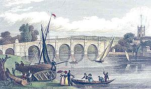 Kingston Bridge, London - A view of Kingston Bridge published in 1831. It has been widened twice since then.