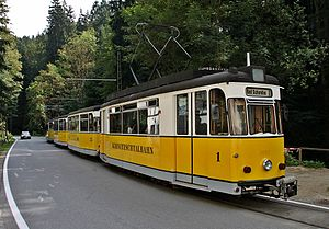 Cars of the Kirnitzschtal Tramway at the Beuthenfall stop
