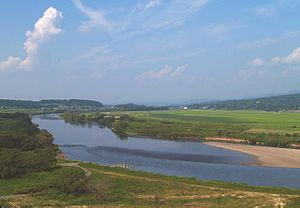 Kitakami River - View of the Kitakami River looking north from the Takadachi Gekido in Hiraizumi, Iwate