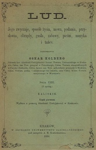 "Oskar Kolberg - Volume XXIII ""Kaliskie"", 1890"