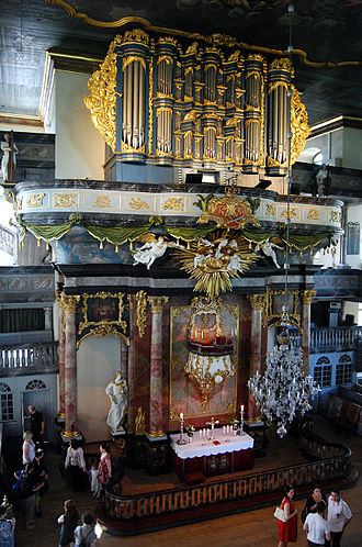 1761 in Norway - Interior from Kongsberg Church, including the Gloger organ.