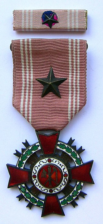 Order of Military Merit (South Korea) - Col. Edwin A. Doss' Eulji Medal with Silver Star (1952–63 design)