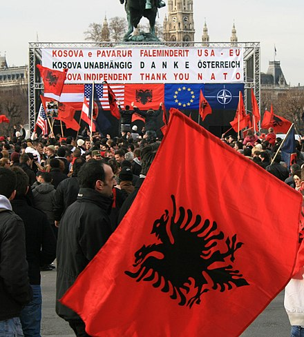 Celebration of the Declaration of Independence of Kosovo Kosova independence Vienna 17-02-2008 b.jpg