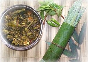 Assamese cuisine - Kosu xaak aru madhuxuleng (Colocasia with Polygonum microcephalum)