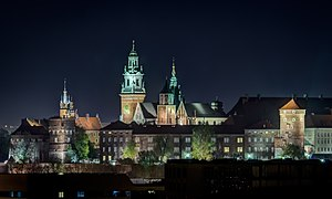 Kraków Old Town - Night view of Wawel Castle