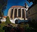 Kroměříž - Stojanovo náměstí - ICE Fisheye Viewing NNW to NE on Kostel svatého Mořice 1848 by Anton Arche.jpg