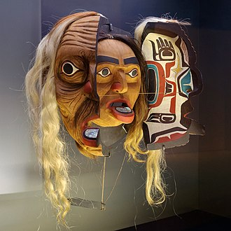 Kwakwaka'wakw art - A Kwakwaka'wakw transformation mask made of wood, horsehair and shell.