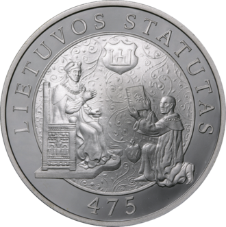 Statutes of Lithuania - Litas commemorative coin dedicated to the First Statute's 475th anniversary