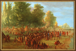 La Salle Erecting a Cross and Taking Possession of the Land.  March 25, 1682