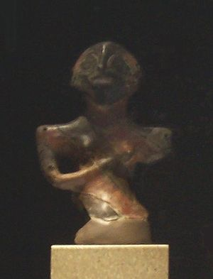 "Vinča culture - The ""Lady of Vinča"", an iconic terracotta anthropomorphic figurine excavated in 1929, at the archaeological site of Vinča-Belo Brdo, in the municipality of Grocka, Belgrade. The figurine is housed in Belgrade's National Museum of Serbia."