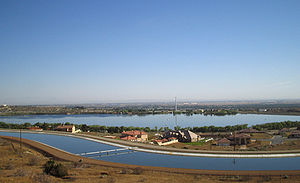 Palmdale, California - Picture of Lake Palmdale with the California Aqueduct in the foreground.