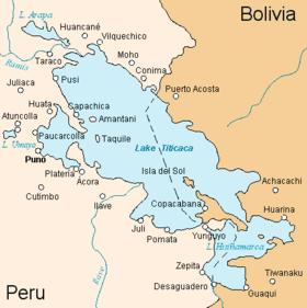 Карта окрестностей озера Титикака