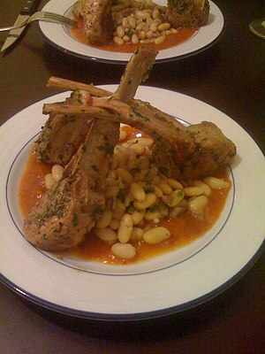 Cowboy beans - Lamb Chops With Guajillo Chili Sauce and Charro Beans. Charro bens (frijoles charros; cowboy beans) is a traditional Mexican dish. It is named after the traditional Mexican horsemen, or charro. The dish is characterized by pinto beans stewed with onion, garlic, and bacon.