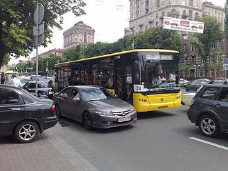 Transport in Kiev - Kiev municipal bus on Khreschatyk Street in the city centre