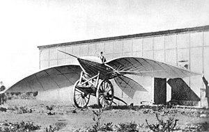 Airplane - Le Bris and his glider, Albatros II, photographed by Nadar, 1868