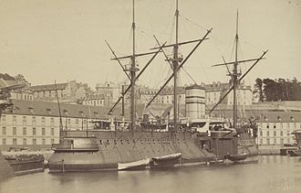 French ironclad Redoutable - Image: Le Redoutable au port de Brest (James Jackson, 1882) cropped