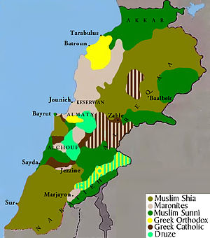Shia Islam in Lebanon - An estimate of the area distribution of Lebanon's main religious groups