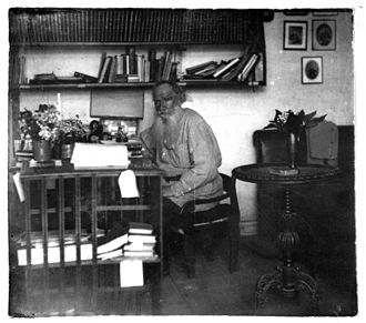 Tolstoy in his study in 1908 (age 80) Leo Tolstoi v kabinetie.05.1908.ws.jpg