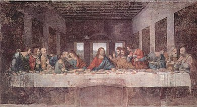 Rectangular fresco, in very damaged condition, of the Last Supper. The scene shows a table across a room which has three windows at the rear. At the centre, Jesus sits, stretching out his hands, the left palm up and the right down. Around the table, are the disciples, twelve men of different ages. They are all reacting in surprise or dismay at what Jesus has just said. The different emotional reactions and gestures are portrayed with great naturalism.