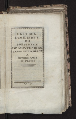 Lettres familieres a divers amis d'Italie, 1767