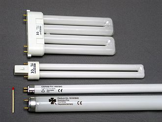 Fluorescent lamp - Top: two compact fluorescent lamps. Bottom: two fluorescent tube lamps. A matchstick, left, is shown for scale.