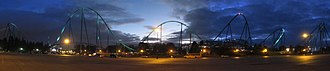 Canada's Wonderland - Leviathan at night as seen from the parking lot.