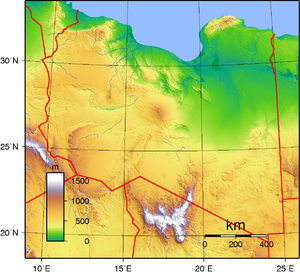 Topographic map of Libya. Created with GMT fro...