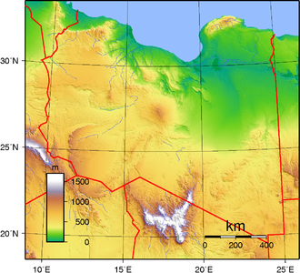 Sarir field - Topography of Libya
