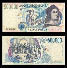 Raffael und Die Schule von Athen auf der italienischen 500.000-Lire-Banknote (Quelle: Wikimedia)