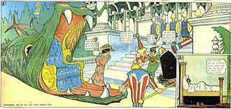 Dream world (plot device) - A panel from Little Nemo (1906).