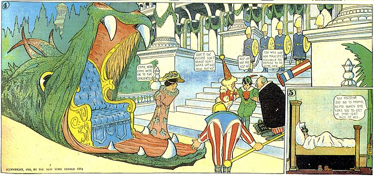 The comic strip Little Nemo in Slumberland is considered McCay's masterpiece (July 22, 1906). Little Nemo 1906-07-22 last two panels.jpg