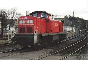 DB Class V 90 - A german class 290 diesel locomotive at Lobenstein station (March 2002)