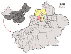 Localisation du comté Wusu (rouge) dans la préfecture de Tacheng (jaune) et au Xinjiang