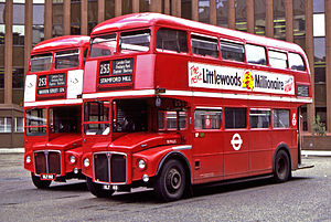 London Buses route 253 - AEC Routemasters at Aldgate bus station in September 1983
