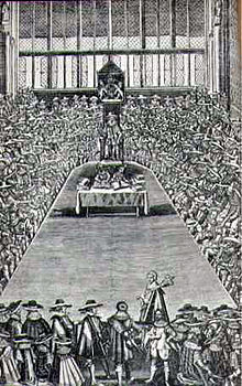 A black and white sketch of a session of the Long Parliament