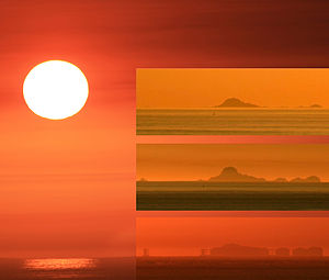 Looming and similar refraction phenomena - Three frame image of Looming, Towering and mirage of the Farallon Islands
