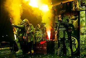 Lordi performing in Nantes, France in 2020 From left to right: Hiisi, Amen, Mana and Mr Lordi.