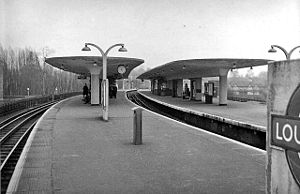 Loughton tube station - View NE, towards Epping and Ongar in 1957