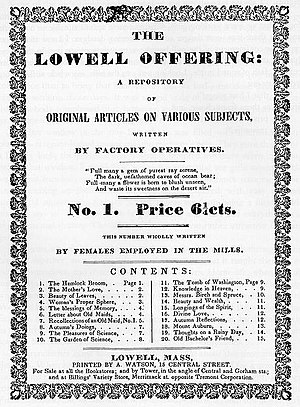 Lowell Mill Girls - Cover of The Lowell Offering, Series 1, Number 1 (1840)