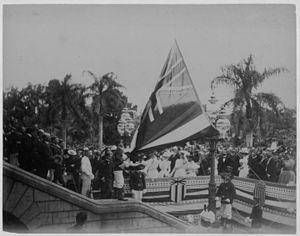Newlands Resolution - Image: Lowering the Hawaiian flag at Annexation ceremony (PPWD 8 3 006)