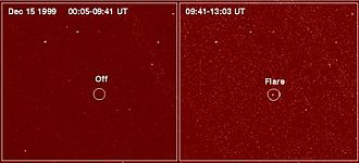 Astrophysical X-ray source - Chandra image of LP 944-20 before flare and during flare.
