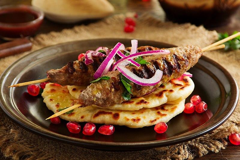 lamb kebab with pita bread, a popular mediterranean dish in America