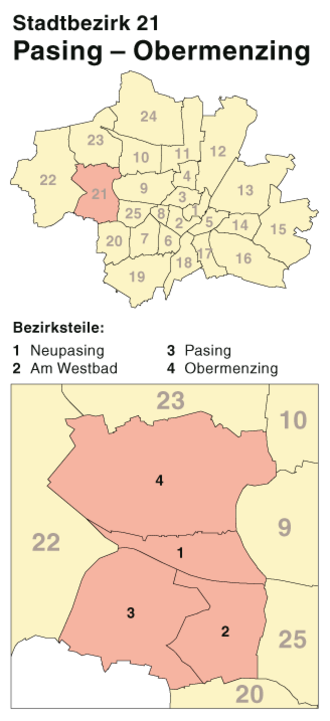Pasing-Obermenzing - District map