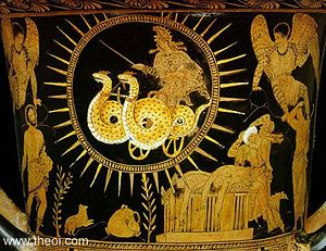 Dragons in Greek mythology - Dragon-chariot of Medea, Lucanian red-figure krater C4th BC, Cleveland Museum of Art