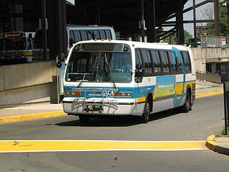 Sullivan Square (MBTA station) - A bus leaves the Sullivan Square busway on the CT2 route